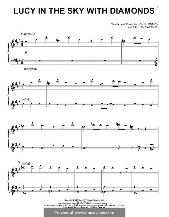 Lucy in the Sky with Diamonds (The Beatles): Für Klavier by John Lennon, Paul McCartney