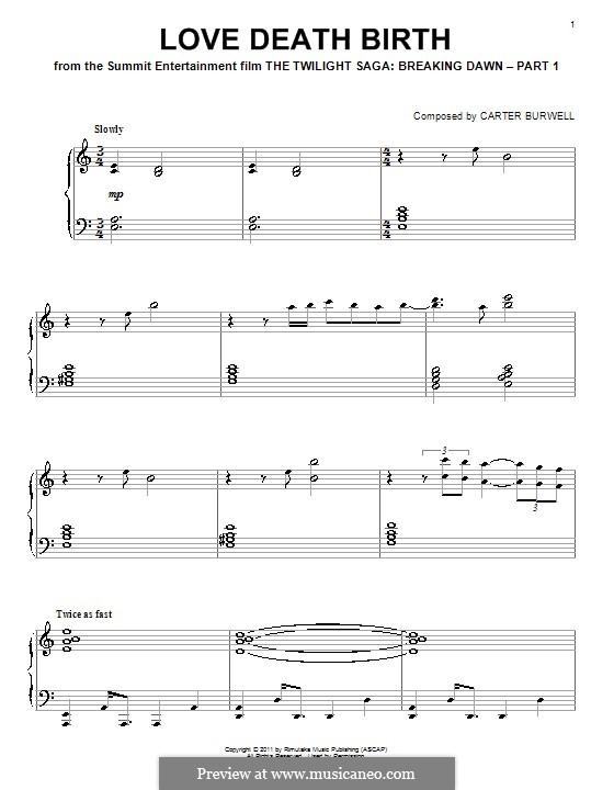 Love Death Birth: Für Klavier by Carter Burwell