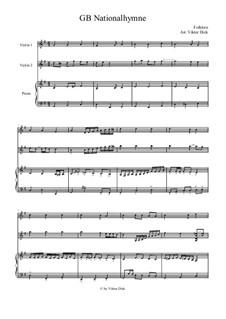 God Save the Queen: Für zwei Violinen und Klavier by Thomas Arne