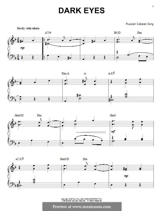 Dark Eyes: Für Klavier by folklore