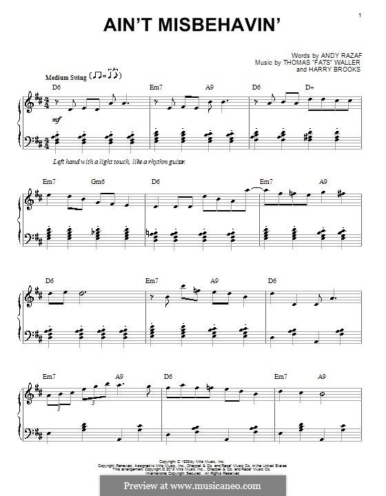 Ain't Misbehavin': Für Klavier by Fats Waller, Harry Brooks