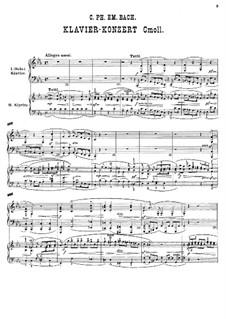 Konzert für Klavier und Orchester c-Moll, H 474 Wq 43:4: Bearbeitung für zwei Klaviere, vierhändig by Carl Philipp Emanuel Bach
