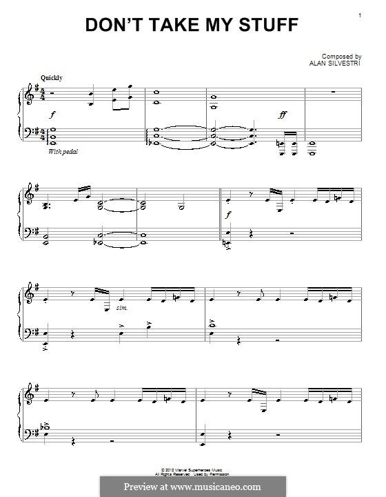 Don't Take My Stuff: Für Klavier by Alan Silvestri
