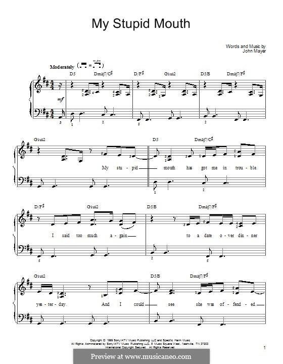 My Stupid Mouth: Für Klavier by John Mayer