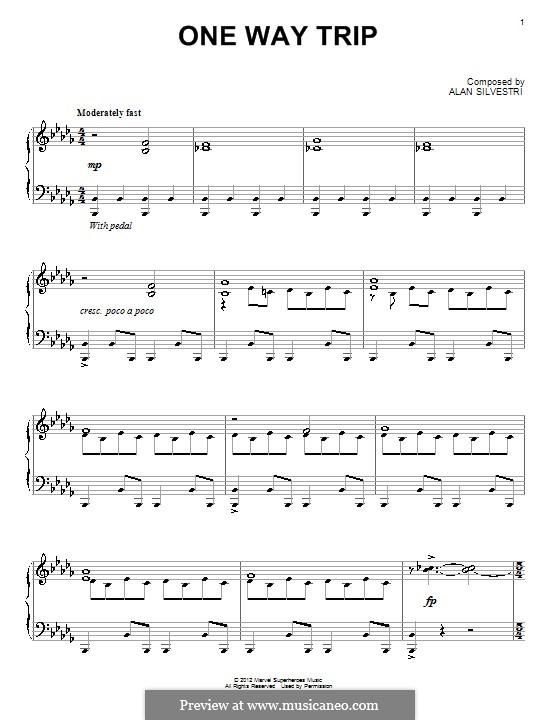 One Way Trip: Für Klavier by Alan Silvestri