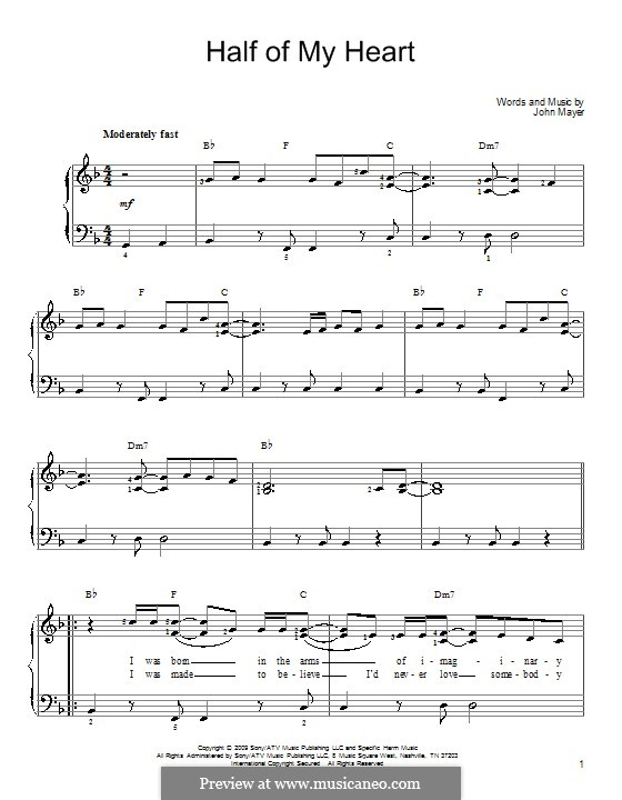 Half of My Heart (John Mayer featuring Taylor Swift): Für Klavier by John Mayer
