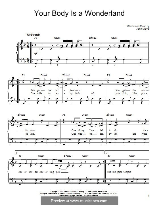 Your Body Is a Wonderland: Für Klavier by John Mayer