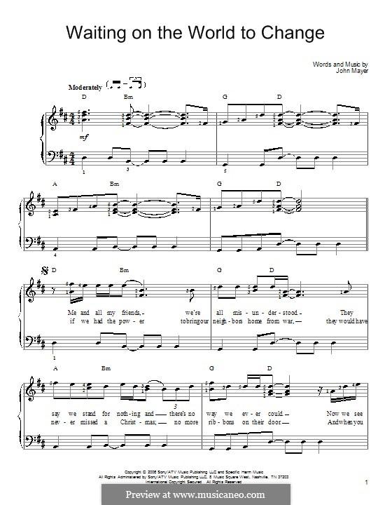 Waiting on the World to Change: Für Klavier by John Mayer