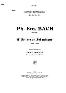 Sonate für Tasteninstrumente in g-Moll, H 21 Wq 65:11: Version für Klavier by Carl Philipp Emanuel Bach