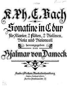 Sonatine für zwei Flöten, Streicher und Klavier in C-Dur, H 460: Version für Flöte und Klavier by Carl Philipp Emanuel Bach