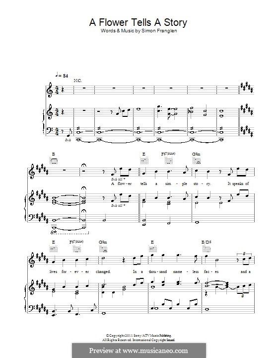 A Flower Tells a Story: Für Stimme und Klavier (oder Gitarre) by Simon Franglen