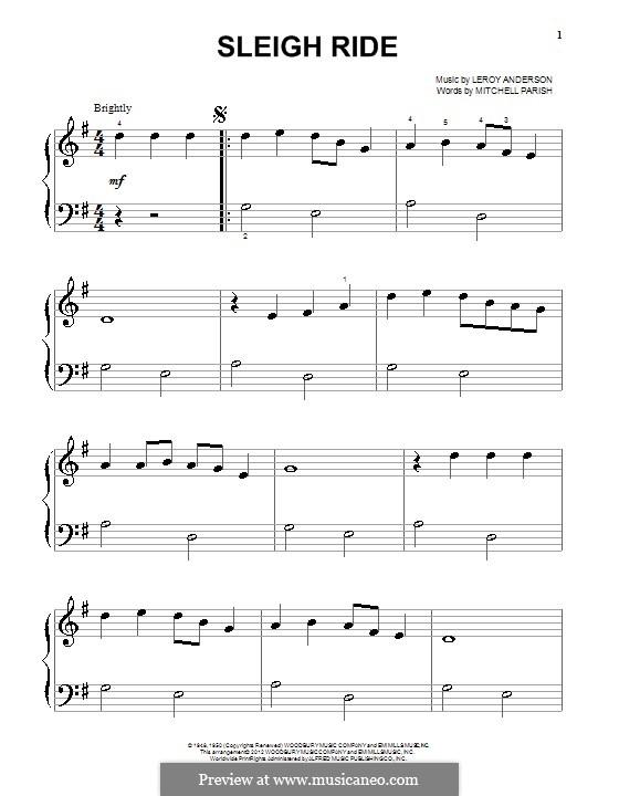 Sleigh Ride: Für Klavier by Leroy Anderson