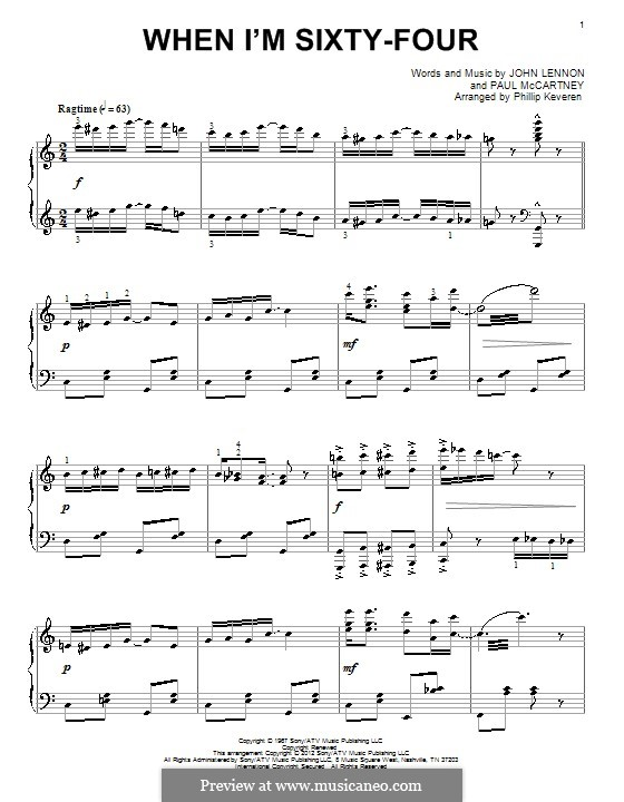 When I'm Sixty-Four (The Beatles), for One Instrument: For piano (classical version) by John Lennon, Paul McCartney