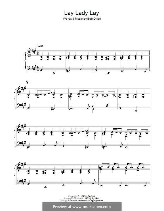 Lay Lady Lay: Für Klavier by Bob Dylan