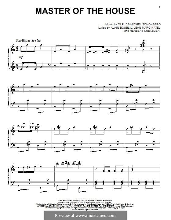 Master of the House: Für Klavier by Claude-Michel Schönberg