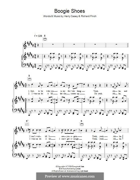 Boogie Shoes (KC & The Sunshine Band): Für Stimme und Klavier (oder Gitarre) by Harry Wayne Casey, Richard Finch