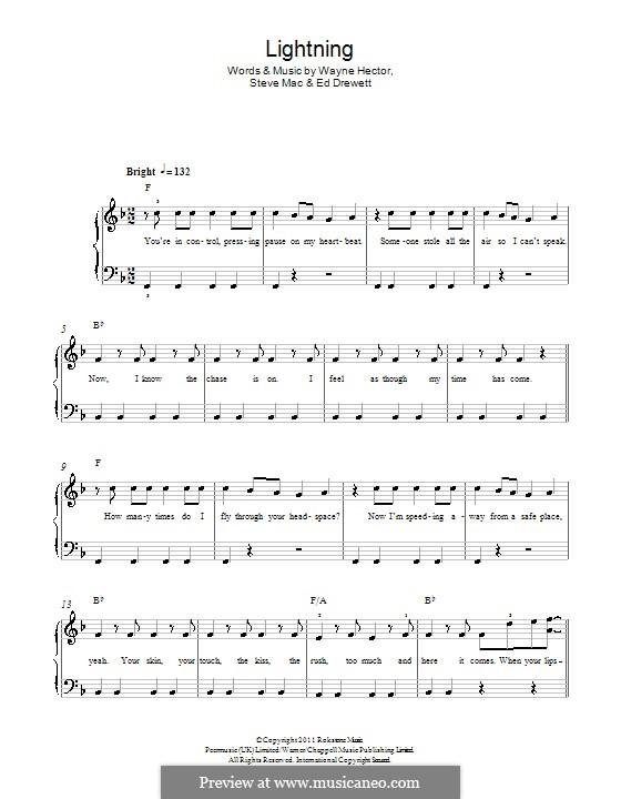 Lightning (The Wanted): Für Klavier by Ed Drewett, Steve Mac, Wayne Anthony Hector