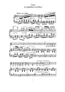 Zwei Lieder, Op.1: Nr.1 Der Schmetterling und die Blume (in C-Dur) by Gabriel Fauré