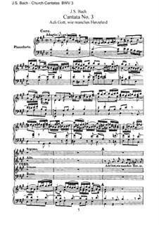 Ach Gott, wie manches Herzeleid, BWV 3: Bearbeitung für Chor, Solisten und Klavier by Johann Sebastian Bach