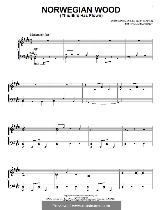 Norwegian Wood (This Bird Has Flown): Für Stimme und Klavier by John Lennon, Paul McCartney