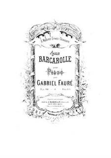 Barcarolle Nr.4 in As-Dur, Op.44: Für Klavier by Gabriel Fauré