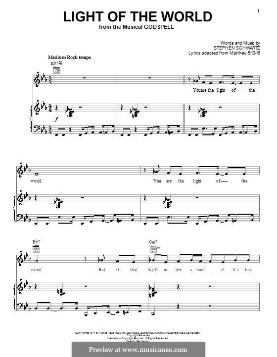 Light of the World: Für Stimme und Klavier (oder Gitarre) by Stephen Schwartz