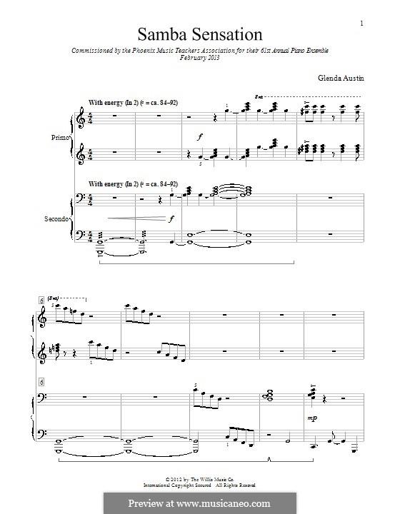 Samba Sensation: Für Klavier, vierhändig by Glenda Austin