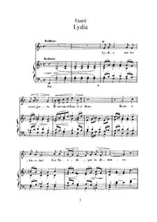 Zwei Lieder, Op.4: Nr.2 Lydia (F-dur) by Gabriel Fauré