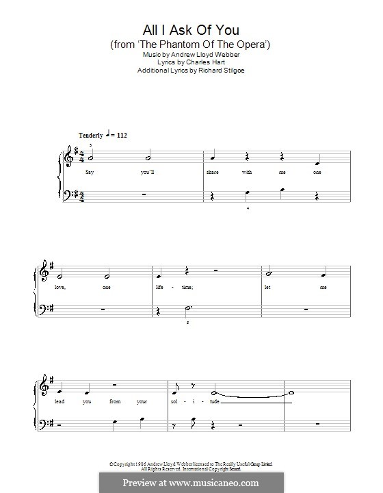 All I Ask of You: Für Klavier (G-Dur) by Andrew Lloyd Webber
