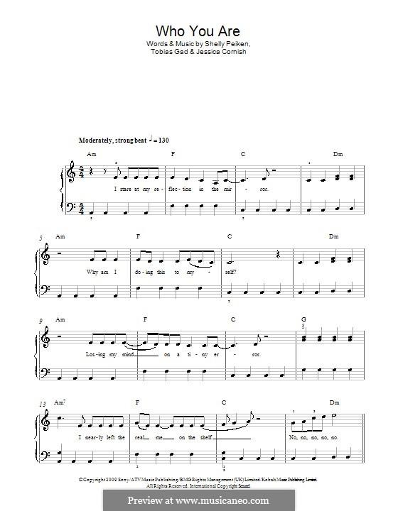 Who You Are (Jessie J): Für Klavier by Jessica Cornish, Shelly Peiken, Tobias Gad