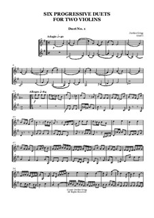 Six Progressive Duets for Two Violins: Six Progressive Duets for Two Violins by Jordan Grigg