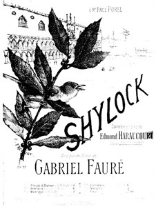 Shylock. Suite, Op.57: Movement V. Nocturne, for piano four hands by Gabriel Fauré