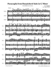Suite Nr.7 in g-Moll, HWV 432: Passacaglia, for three intermediate cellos (cello trio) by Georg Friedrich Händel