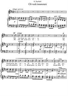Chi vuole innamorarsi: Klavierauszug mit Singstimmen by Alessandro Scarlatti