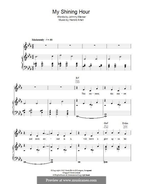 My Shining Hour (Ella Fitzgerald): Für Stimme und Klavier (oder Gitarre) by Harold Arlen