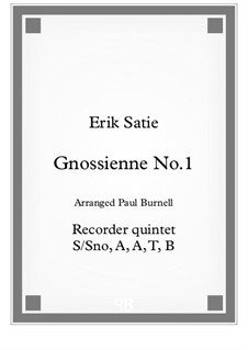 No.1: For recorder quintet T/A, B, B, Gb, CB – score by Erik Satie