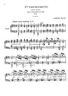 Impromptu für Harfe No.6 in Des-Dur, Op.86: Version für Klavier by Gabriel Fauré