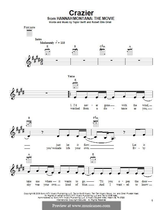 Crazier (Taylor Swift): Für Ukulele by Robert Ellis Orrall