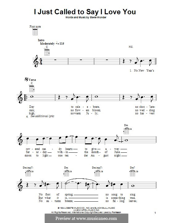 I Just Called to Say I Love You: Für Ukulele by Stevie Wonder