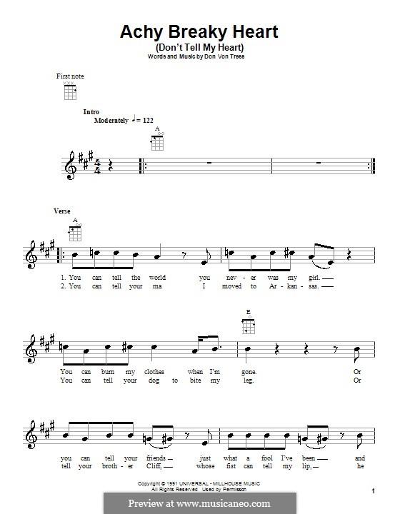 Achy Breaky Heart (Don't Tell My Heart): Für Ukulele by Donald Von Tress