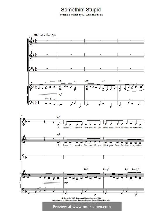 Somethin' Stupid (Frank Sinatra): Für gemischten Chor by C. Carson Parks