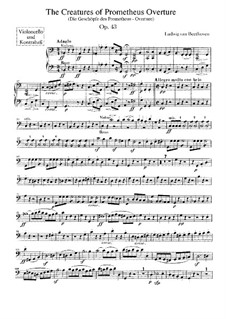 Die Geschöpfe des Prometheus, Op.43: Cello- und Kontrabass-Stimme by Ludwig van Beethoven