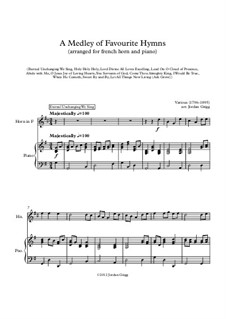 A Medley of Favourite Hymns: For horn and piano by Unknown (works before 1850)