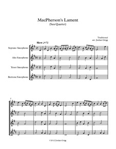 MacPherson's Lament: Für Saxophonquartett by James MacPherson