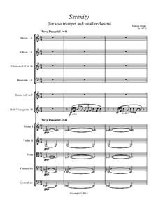 Serenity (for solo trumpet and small orchestra): Serenity (for solo trumpet and small orchestra) by Jordan Grigg
