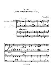 Walzer in G-Dur, Op.39 No.15: For treble or bass solo with piano by Johannes Brahms