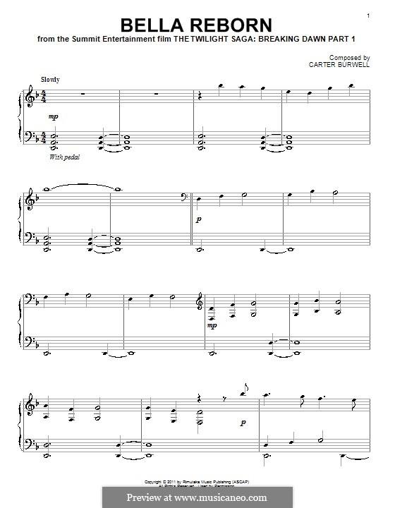 Bella Reborn: Für Klavier by Carter Burwell