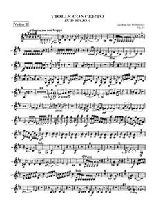 Konzert für Violine und Orchester in D-Dur, Op.61: Violinstimme II by Ludwig van Beethoven