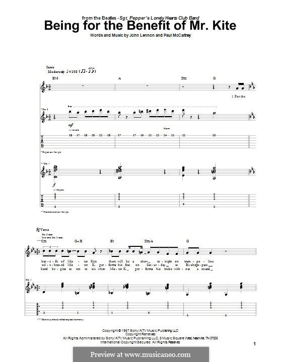 Being for the Benefit of Mr Kite (The Beatles): Für Gitarre mit Tabulatur by John Lennon, Paul McCartney