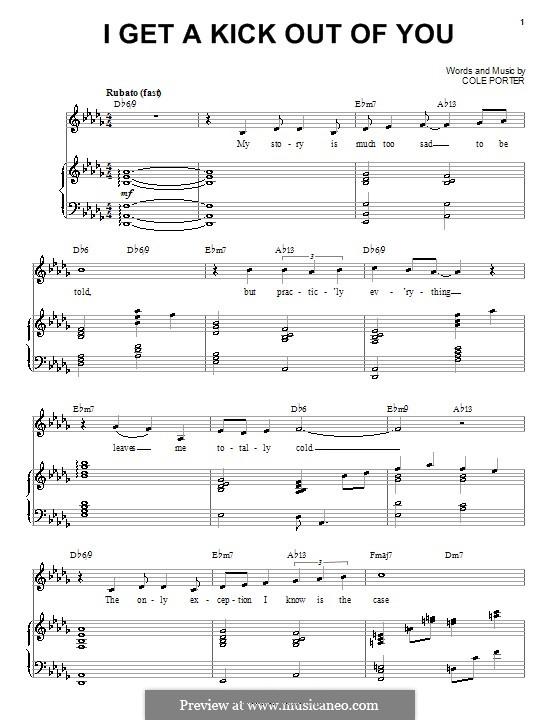 I Get a Kick Out of You (Frank Sinatra): Für Stimme und Klavier by Cole Porter